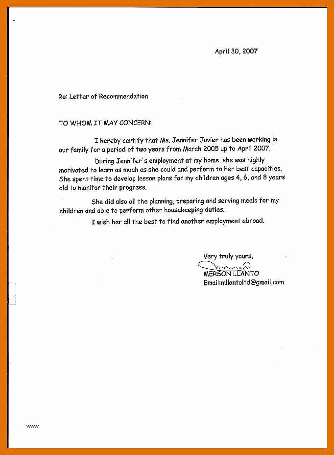 Letter Of Recommendation for Babysitter Awesome 5 6 Letter Of Re Mendation for Babysitter