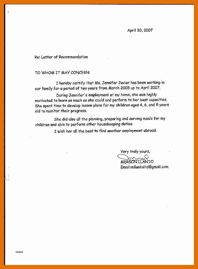 Letter Of Recommendation for Babysitter Awesome 5 6 Letter Of Re Mendation for Babysitter