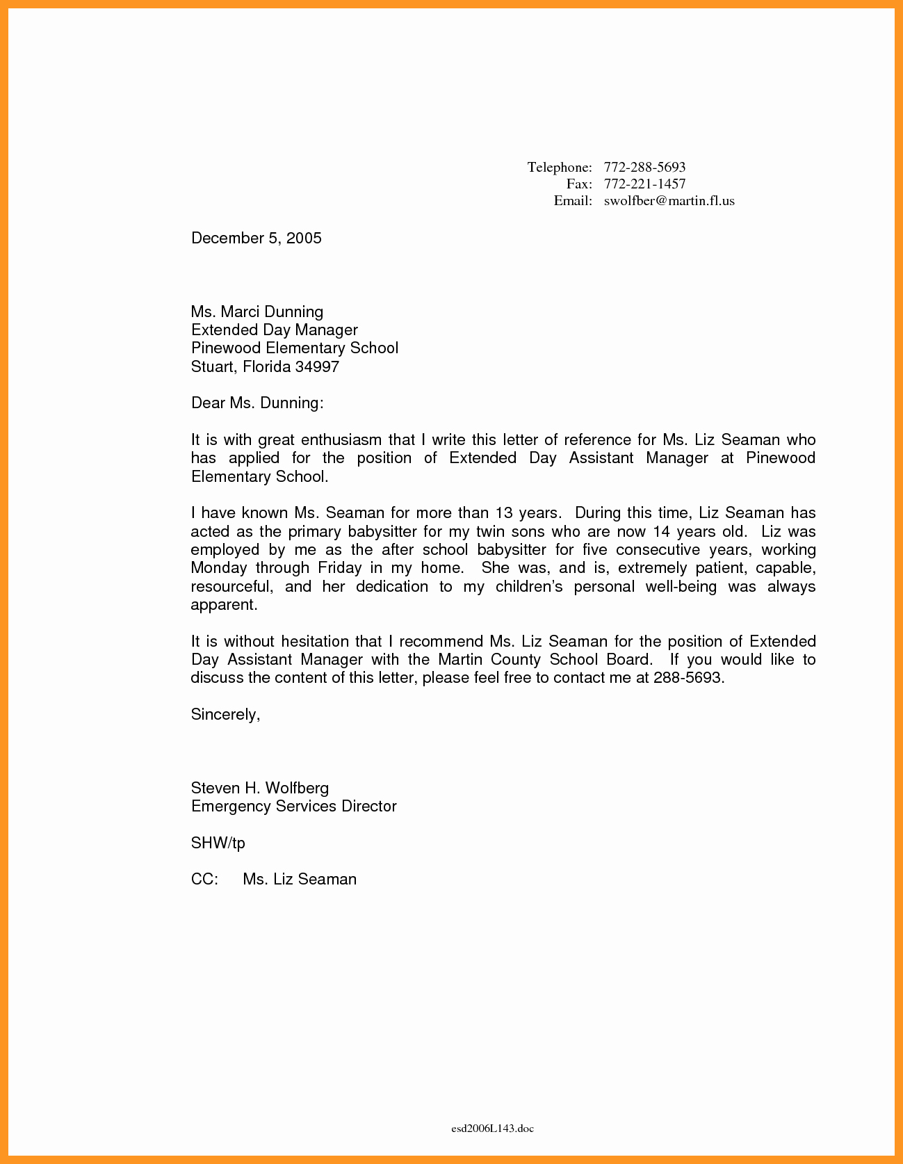 Letter Of Recommendation for Babysitter Beautiful Babysitter Letter Of Re Mendation