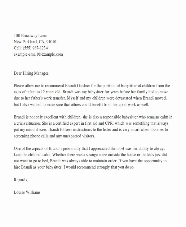 Letter Of Recommendation for Babysitter Best Of Babysitter Reference Letter