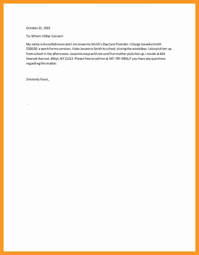 Letter Of Recommendation for Babysitter Fresh Babysitter Letter Of Re Mendation