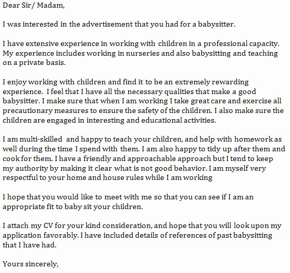 Letter Of Recommendation for Babysitter Luxury Re Mendation Letter for Babysitter Lovely Good Behavior