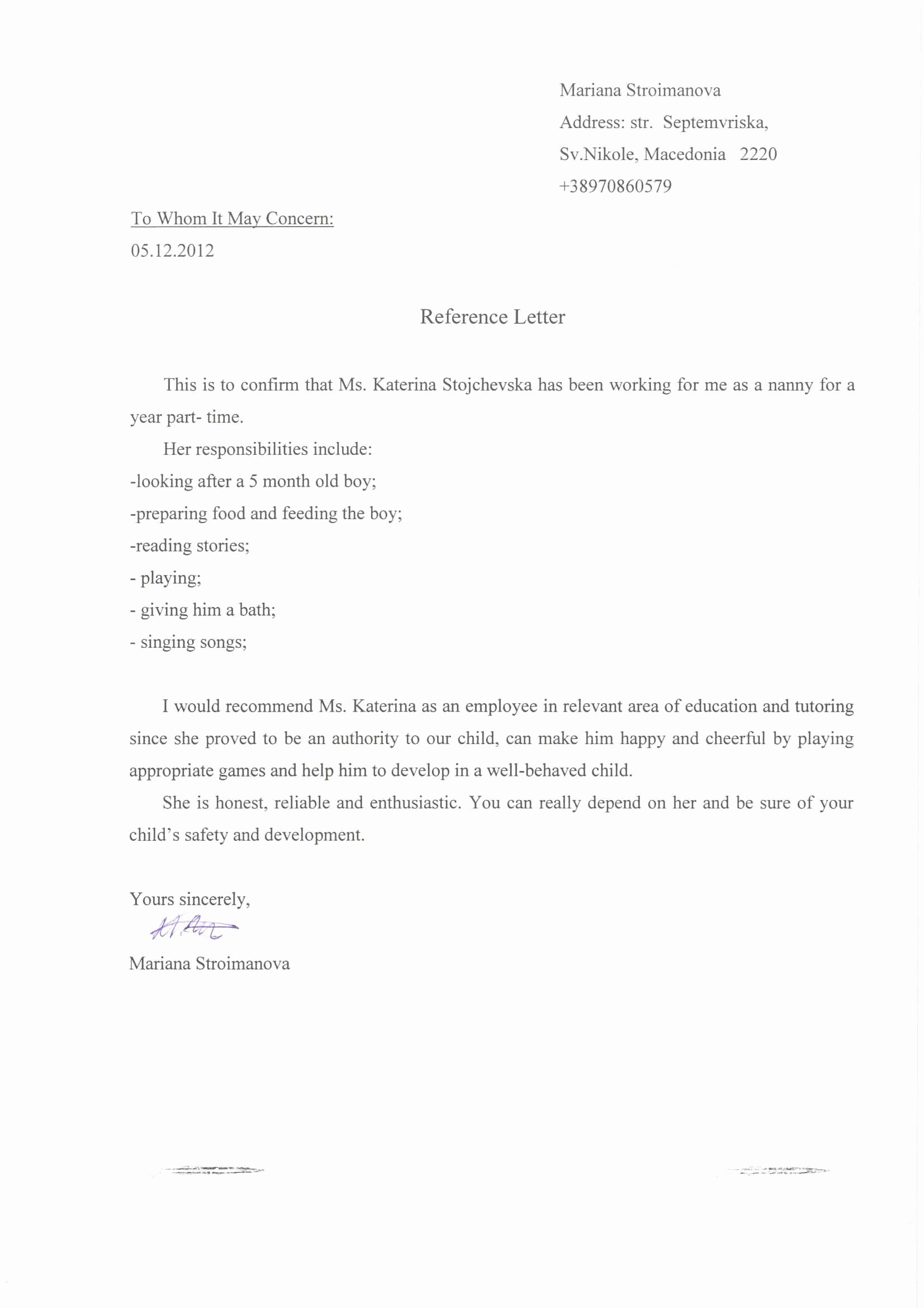 Letter Of Recommendation for Caregiver Best Of Re Mendation Letter for Babysitter