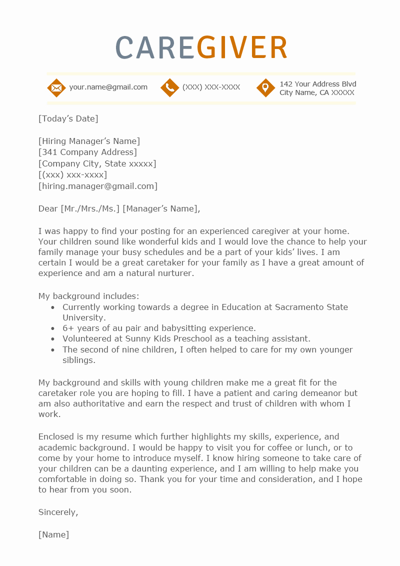 Letter Of Recommendation for Caregiver Elegant Caregiver Cover Letter Sample