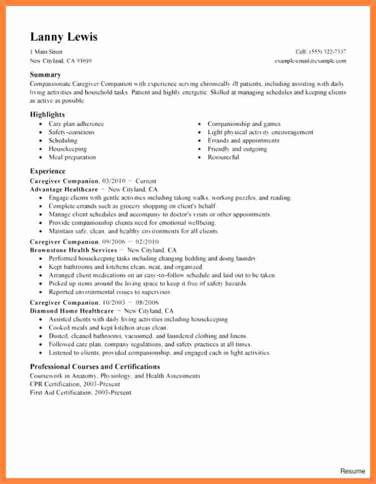 Letter Of Recommendation for Caregiver Luxury 9 Additional Skills Resume