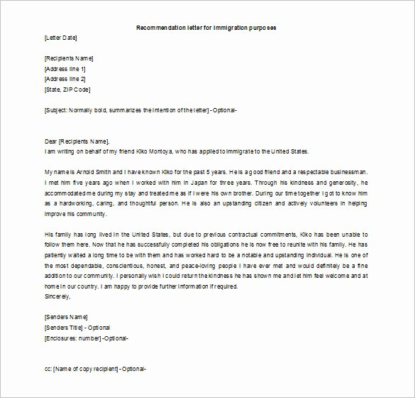 Letter Of Recommendation for Citizenship Inspirational 16 Re Mendation Letters for A Friend Free Sample