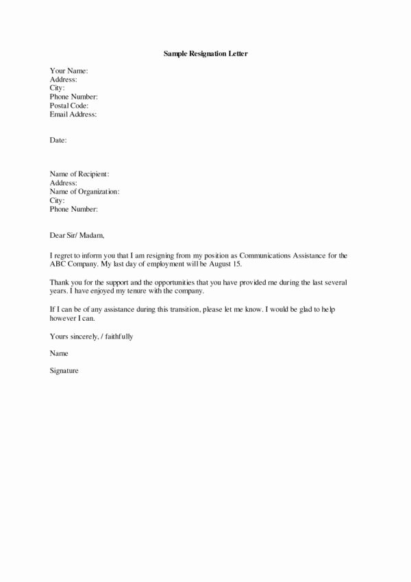 Letter Of Recommendation for Cna New 11 Thank You Resignation Letter Samples & Templates