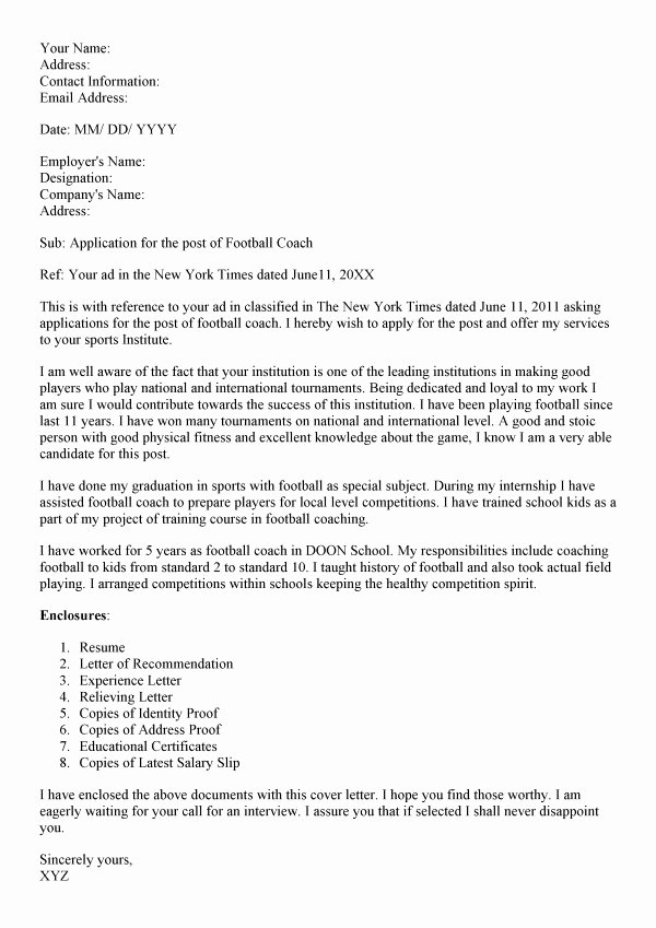 Letter Of Recommendation for Coach Awesome Football Coach Cover Letter Letter Of Re Mendation