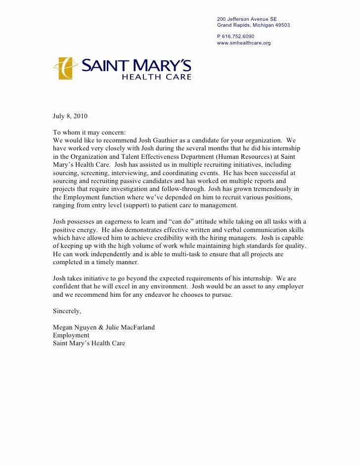 Letter Of Recommendation for Coach Awesome Saint Marys Letter Re Mendation