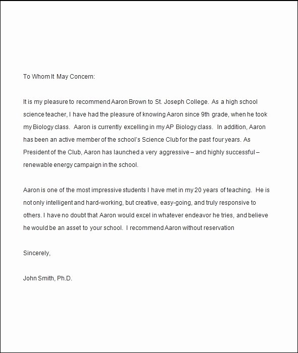 Letter Of Recommendation for Coach Inspirational Letter Re Mendation for College Student From Teacher