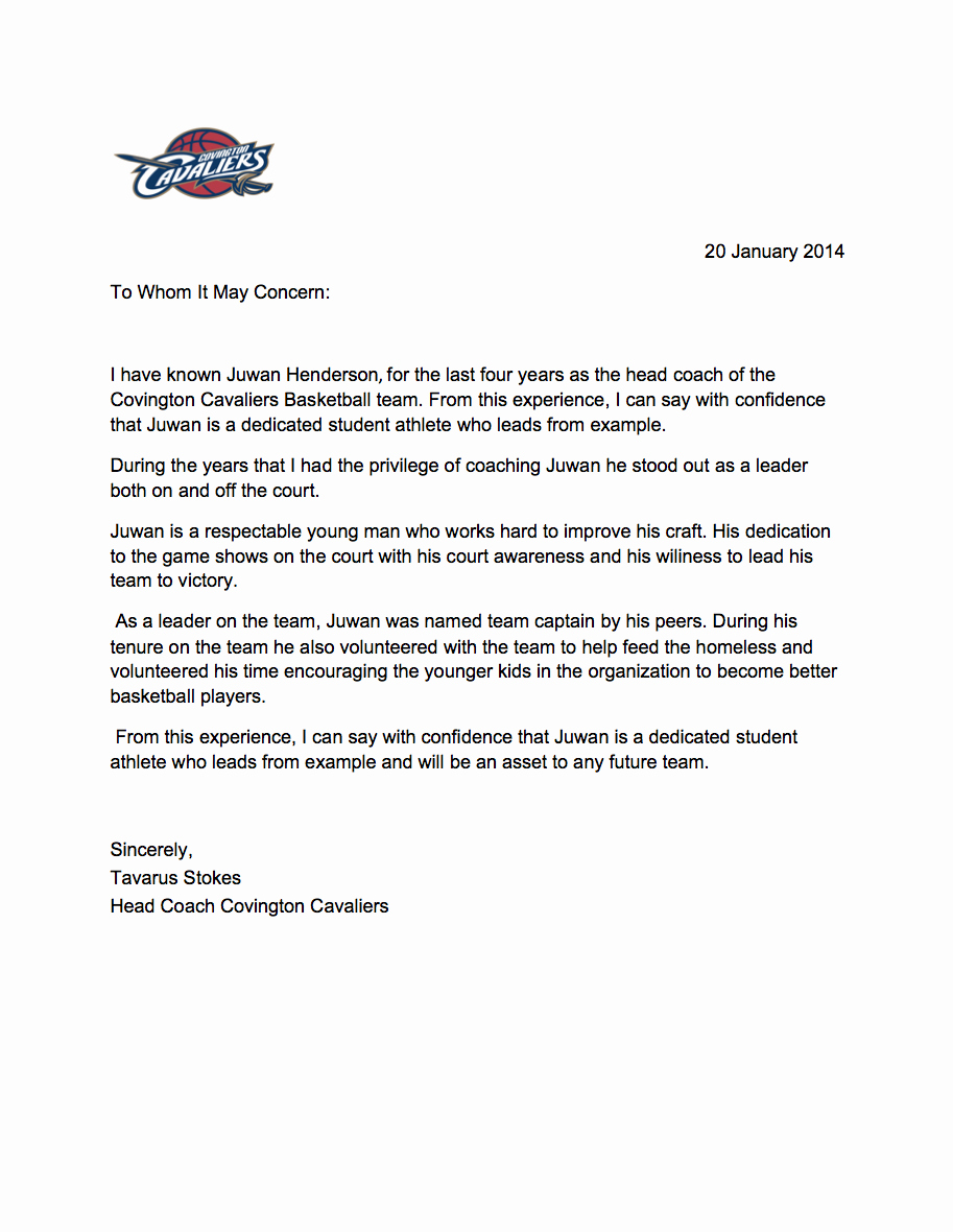 Letter Of Recommendation for Coach Unique athletic Letter Re Mendation From Coach – Perfect