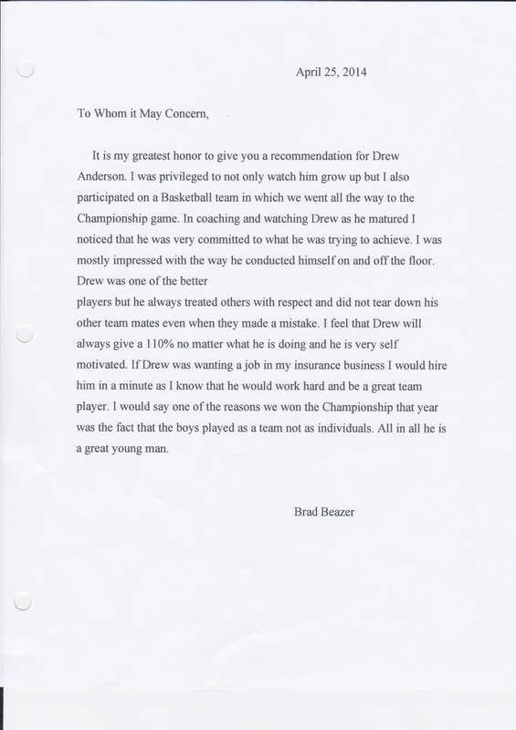 Letter Of Recommendation for Coach Unique Letter Of Re Mendation 1 Basketball Coach Drew anderson