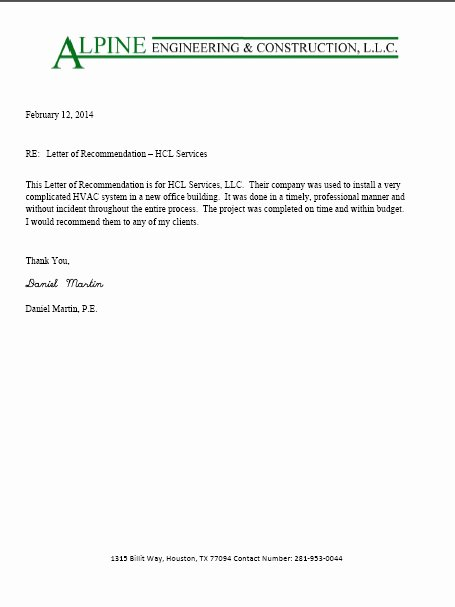 Letter Of Recommendation for Contractor Beautiful Hcl Mechanical Services Llc Testimonials