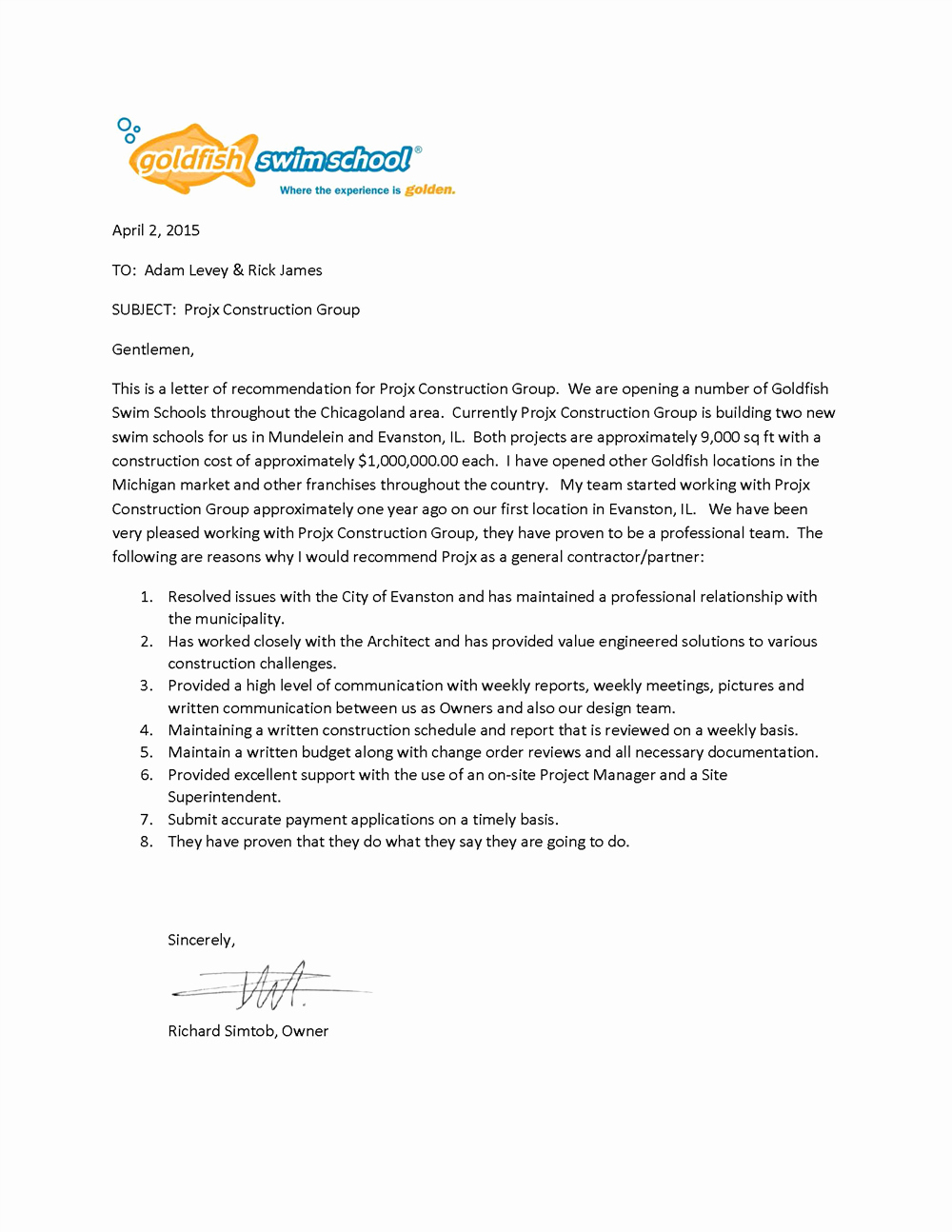 Letter Of Recommendation for Contractor Beautiful Projx Reviews