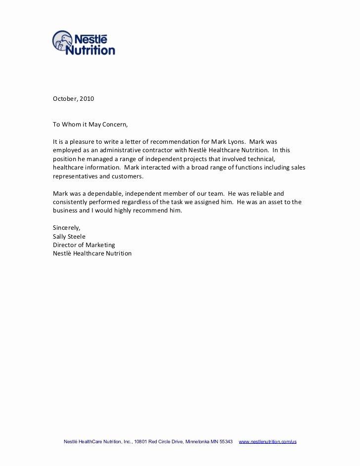 Letter Of Recommendation for Contractor Beautiful Re Mendation Letter From Sally Steele