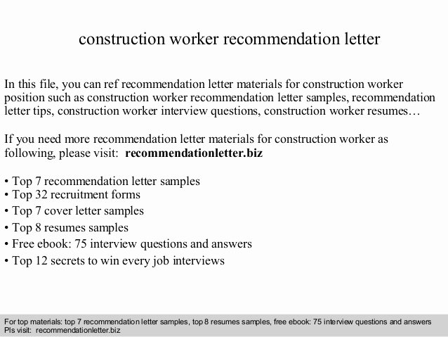 Letter Of Recommendation for Contractor Inspirational Construction Worker Re Mendation Letter