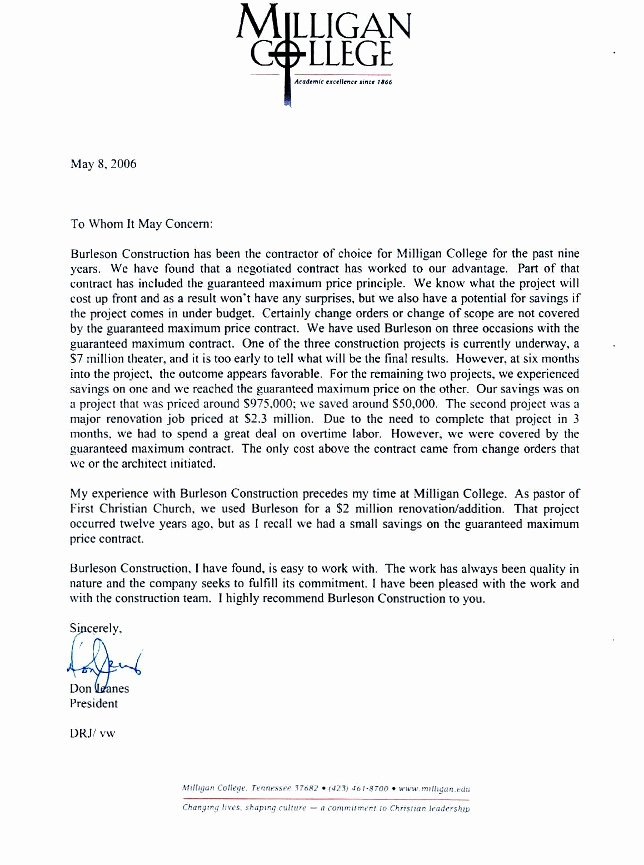 Letter Of Recommendation for Contractor Inspirational Letters Of Re Mendation Burleson Construction General