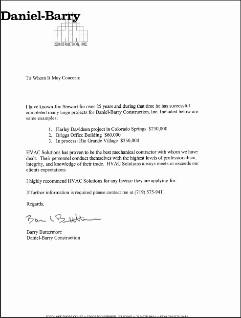 Letter Of Recommendation for Contractor Inspirational Letters Of Re Mendation Hvac solutions