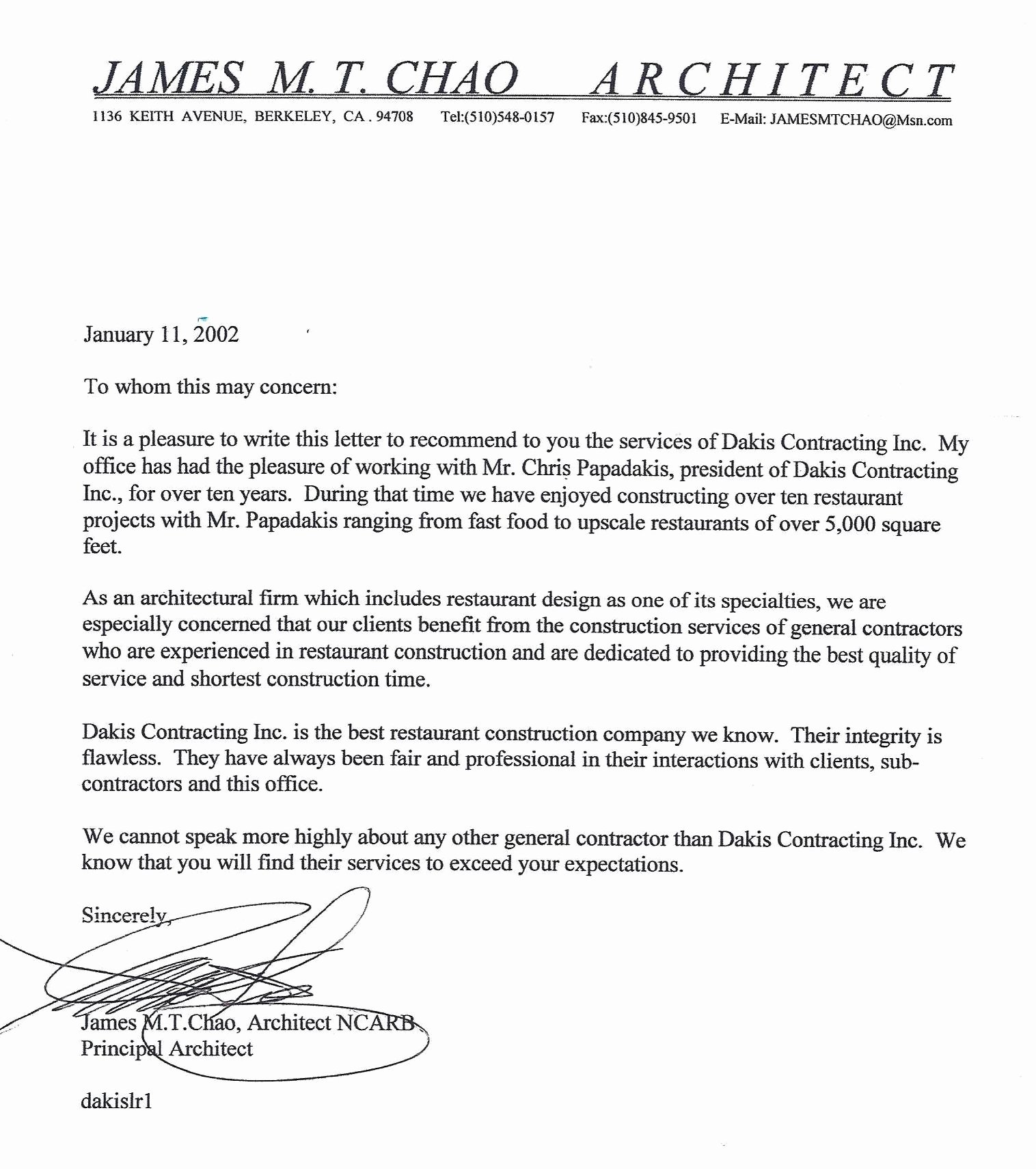 Letter Of Recommendation for Contractor New Jim Chao Dakis Contracting Inc
