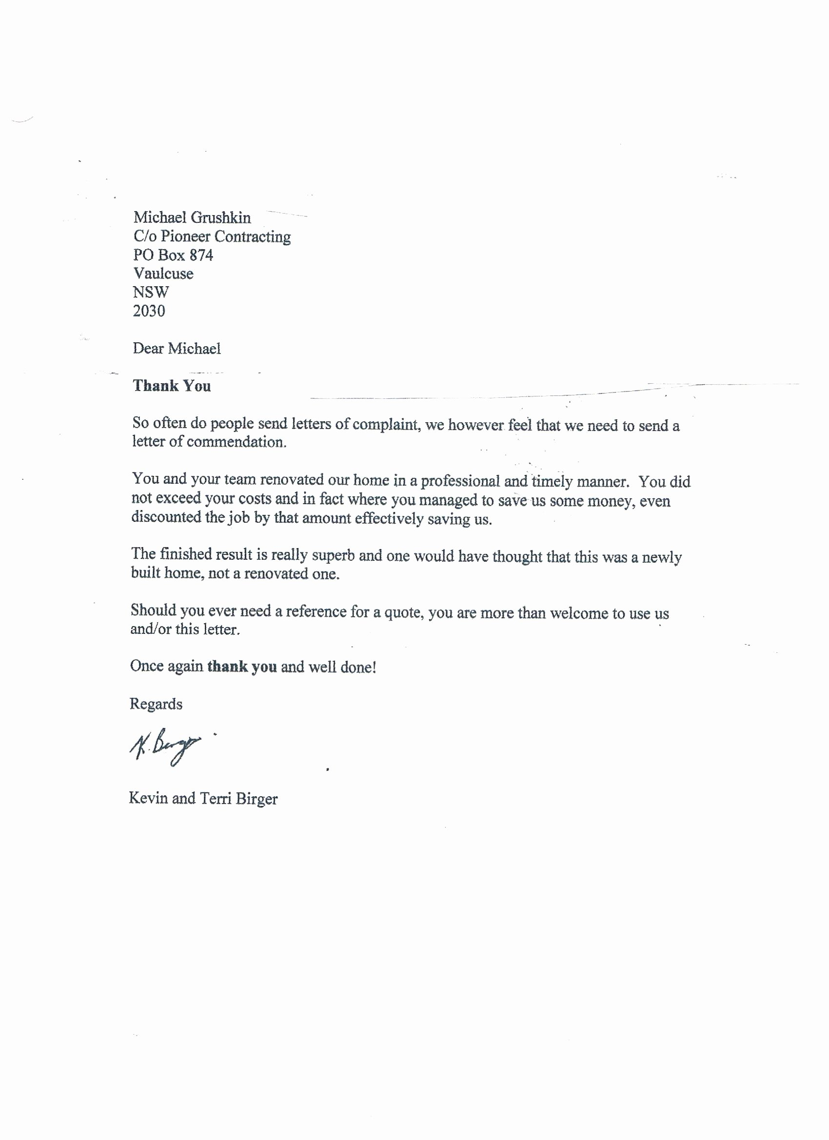 Letter Of Recommendation for Contractor New Pioneer Contracting