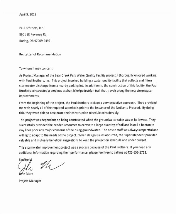 Letter Of Recommendation for Contractor Unique 10 Employee Re Mendation Letter Template 10 Free