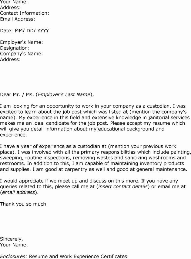 Letter Of Recommendation for Custodian Beautiful Sample Letter Interest Custodian Employment