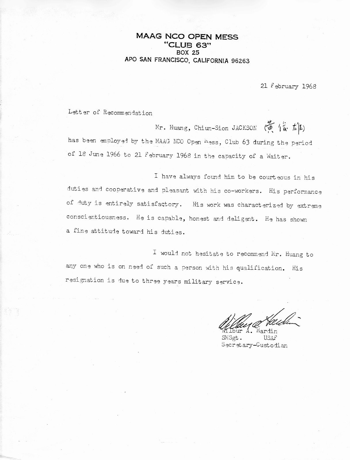 Letter Of Recommendation for Custodian Beautiful Taipei Air Station Maag Closes the Doors at Taipei S Club