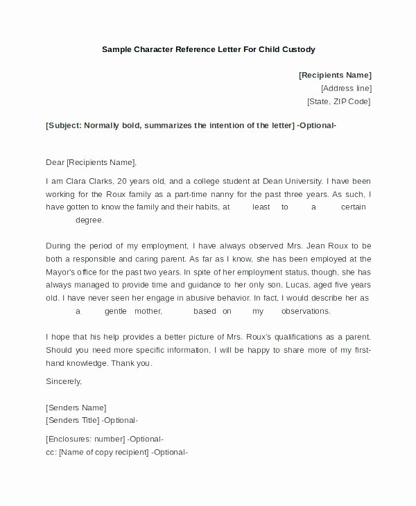 Letter Of Recommendation for Custodian Inspirational Child Custody Reference Letter Beautiful Character