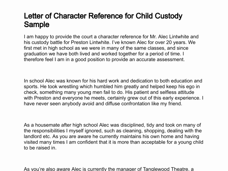 Letter Of Recommendation for Custodian Unique Sample Character Reference for Child Custody