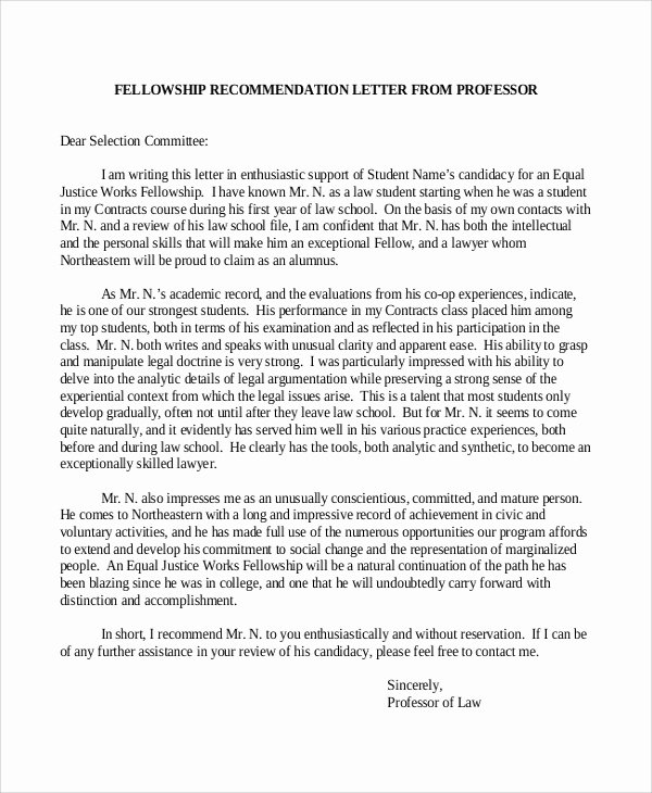 Letter Of Recommendation for Fellowship Elegant 9 Sample Re Mendation Letters