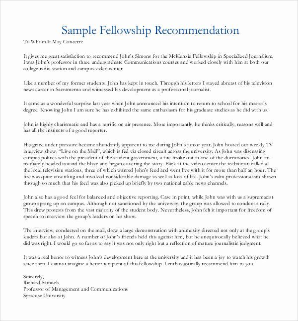 Letter Of Recommendation for Fellowship Lovely 44 Sample Letters Of Re Mendation for Graduate School