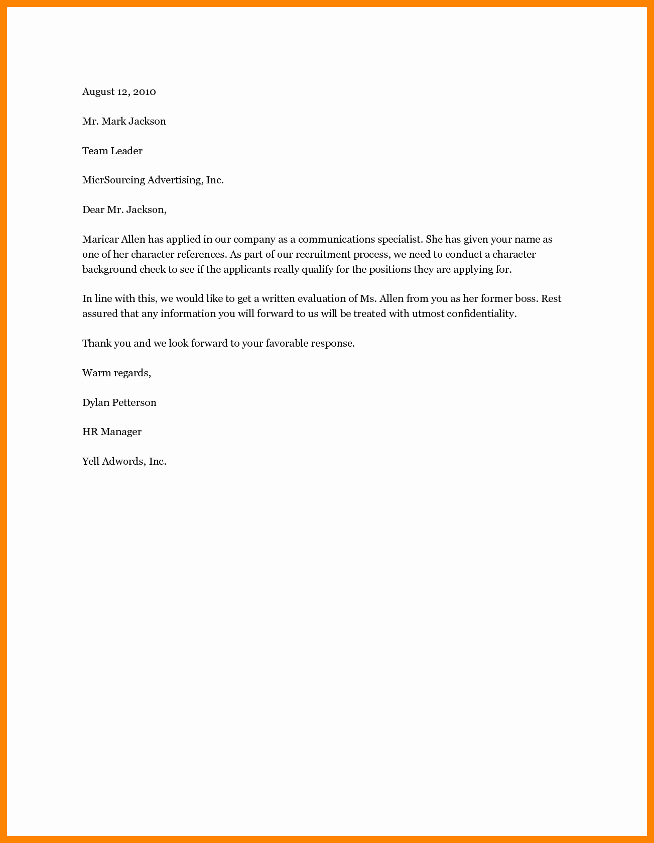 Letter Of Recommendation for Housing Awesome 11 Example Of A Personal Reference Letter