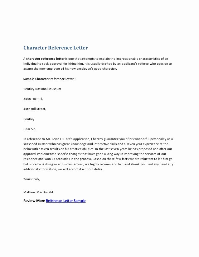 Letter Of Recommendation for Housing Elegant Character Reference Letter
