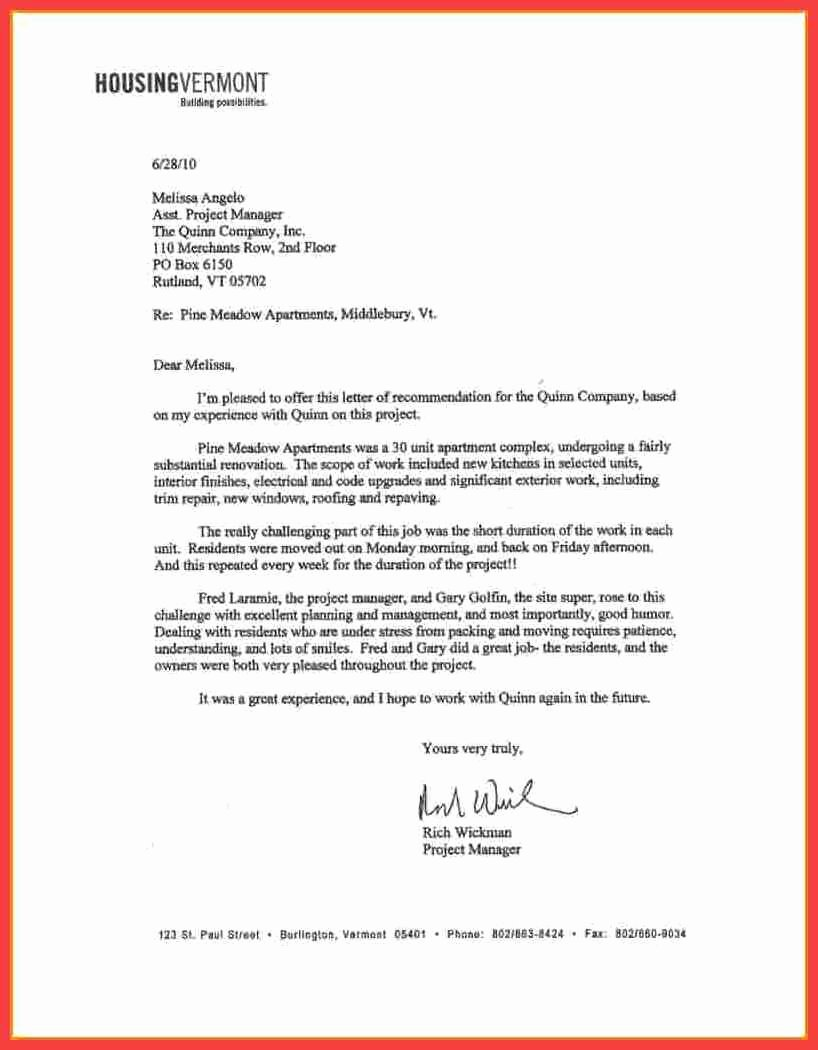 Letter Of Recommendation for Housing Fresh General Letter Of Reference