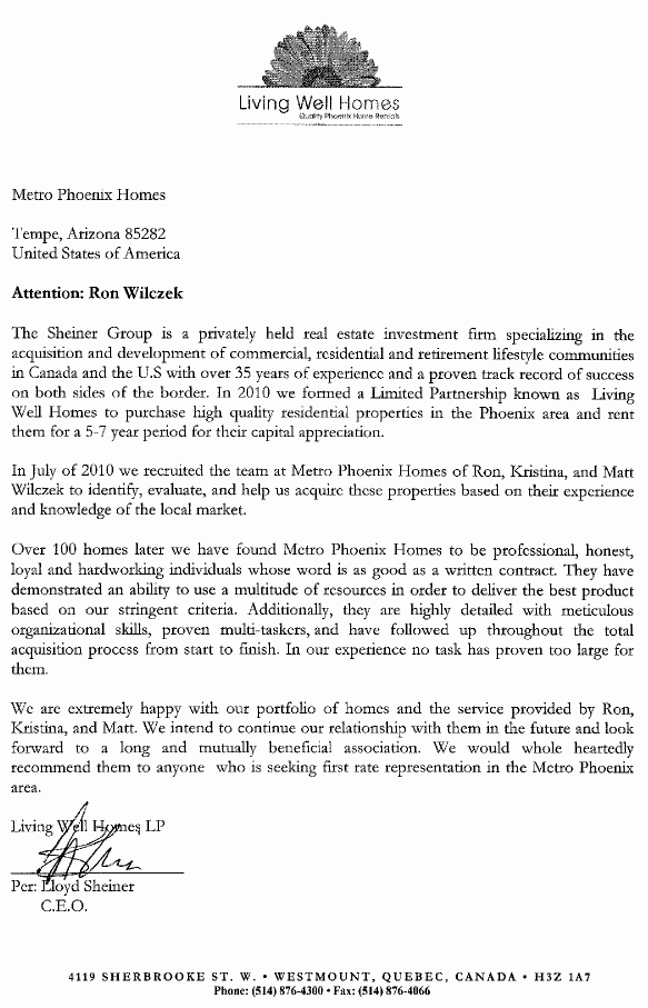 Letter Of Recommendation for Housing Lovely 111 Homes Our St Investor Re Mends Us as Phoenix