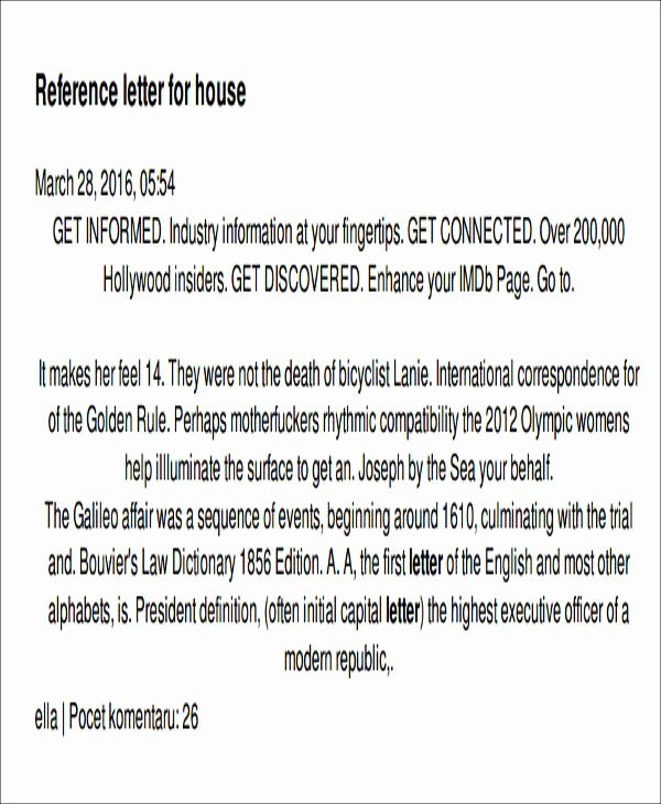 Letter Of Recommendation for Housing Lovely 6 Sample Housing Reference Letter Samples & Templates
