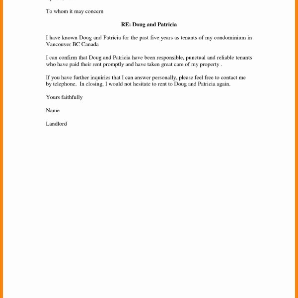 Letter Of Recommendation for Housing Lovely Character Reference Letter for Housing Template