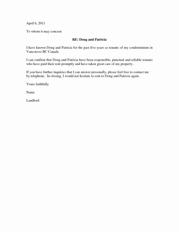 Letter Of Recommendation for Housing New Tenant Reference Letter