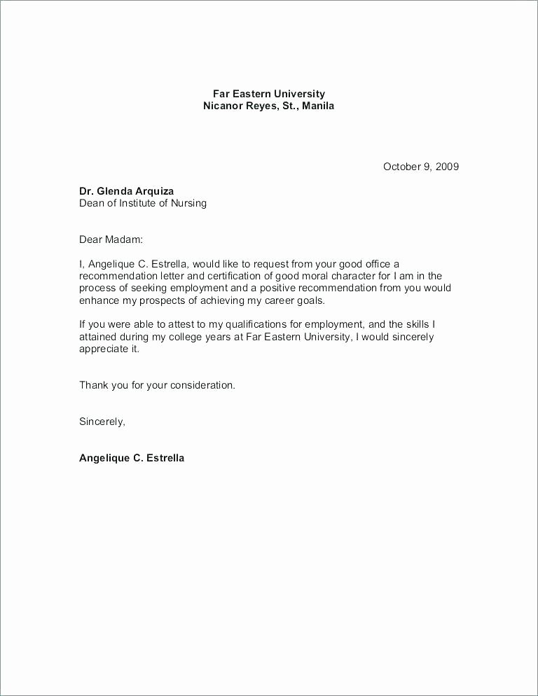 Letter Of Recommendation for Housing Unique Sample Re Mendation Letter for Student From Employer