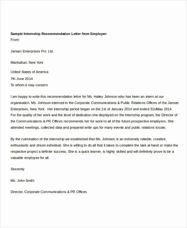 Letter Of Recommendation for Intern Inspirational 37 Re Mendation Letter format Samples
