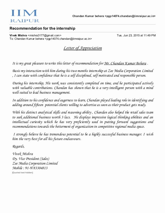 Letter Of Recommendation for Intern Luxury Re Mendation Letter