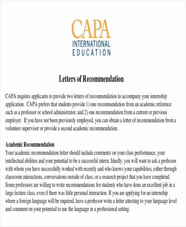 Letter Of Recommendation for Intern Unique 8 Sample Internship Re Mendation Letters
