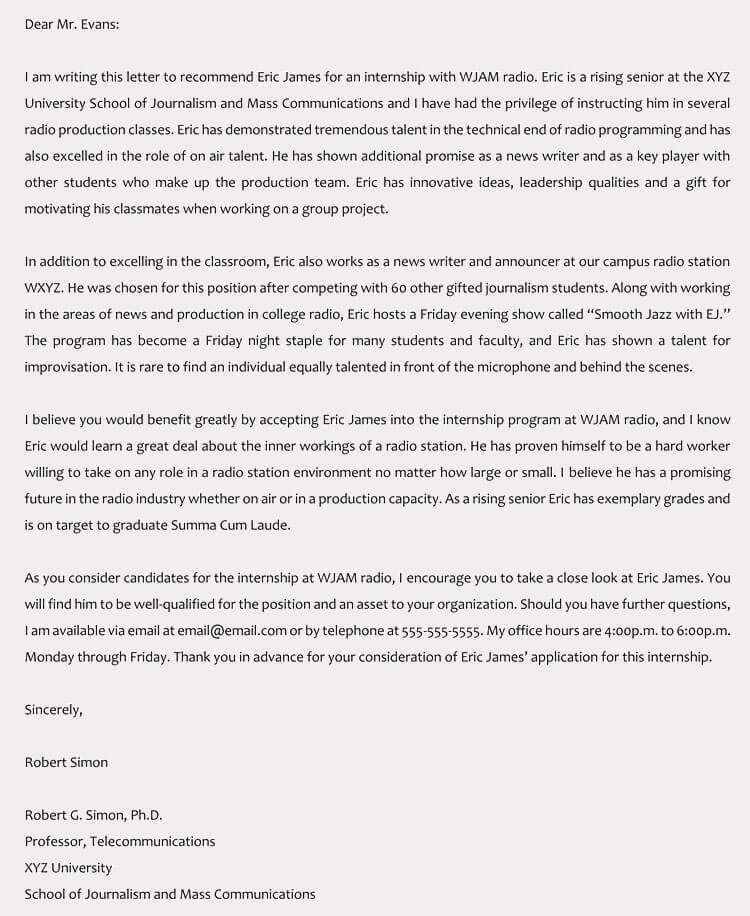 Letter Of Recommendation for Intern Unique Re Mendation Letter for Internship Pletion Templates