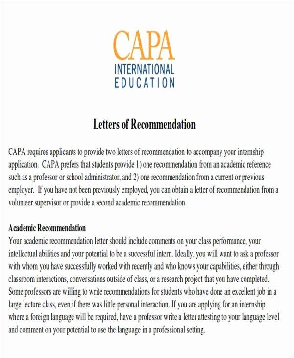 Letter Of Recommendation for Internship Awesome 8 Sample Internship Re Mendation Letters