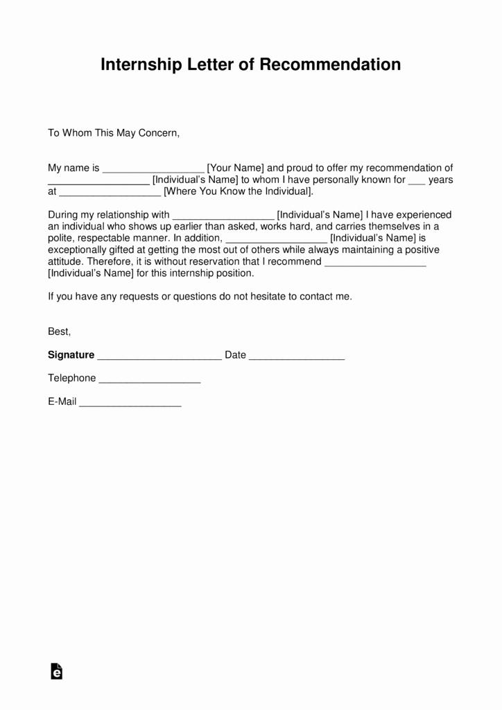 Letter Of Recommendation for Internship Elegant Free Re Mendation Letter for Internship with Samples