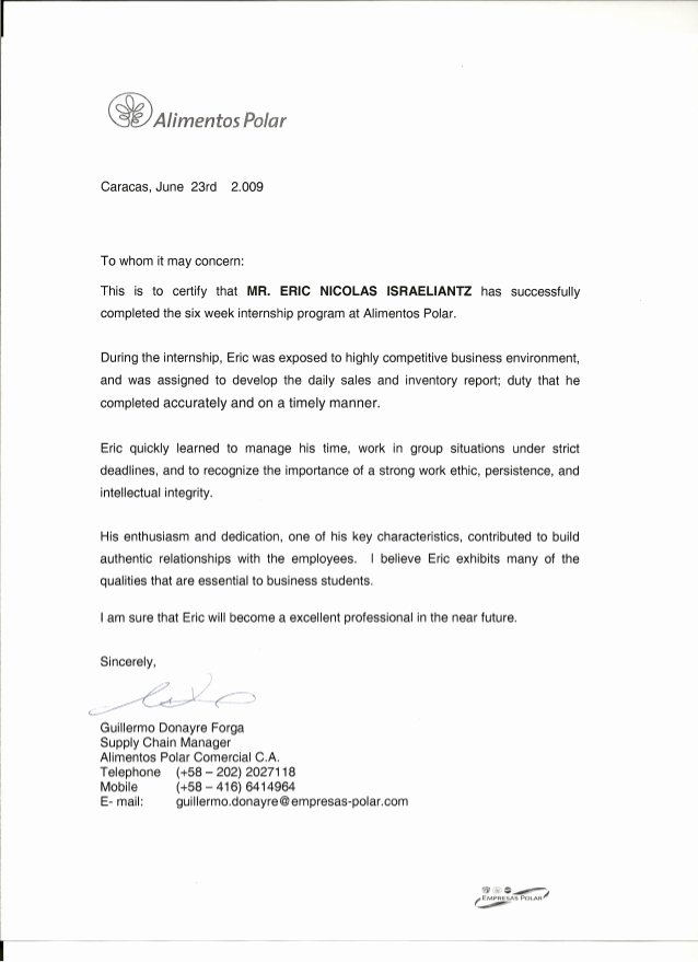Letter Of Recommendation for Internship Elegant Reference Letter From Internship