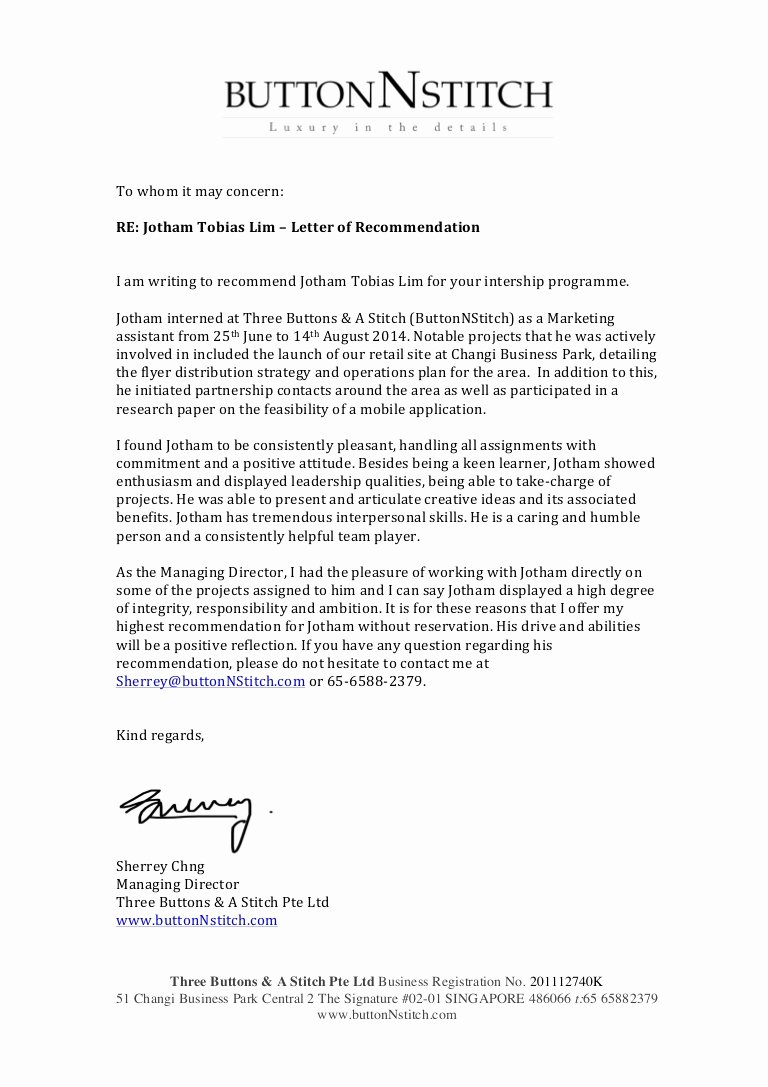 Letter Of Recommendation for Internship New Internship Re Mendation Letter