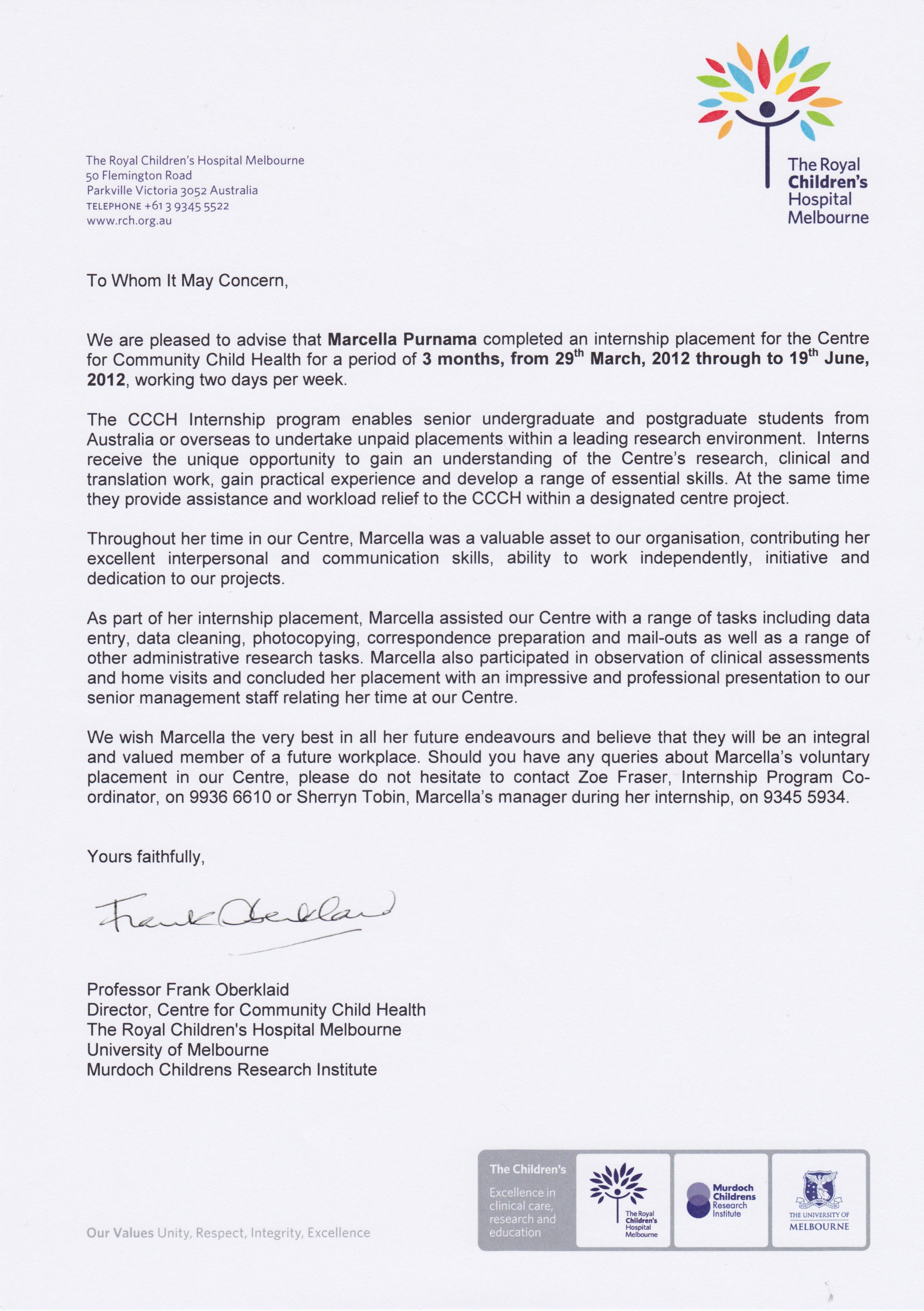 Letter Of Recommendation for Internship Unique Re Mendation Letter for Internship Pletion