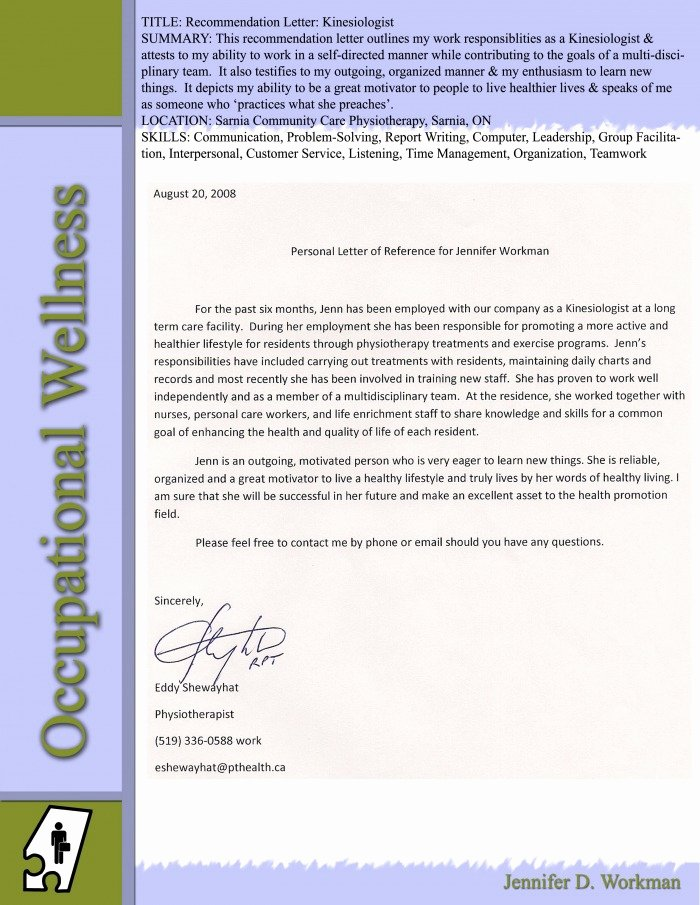 Letter Of Recommendation for Ltc Beautiful Occupational Jennifer D Workman Be Well Be whole