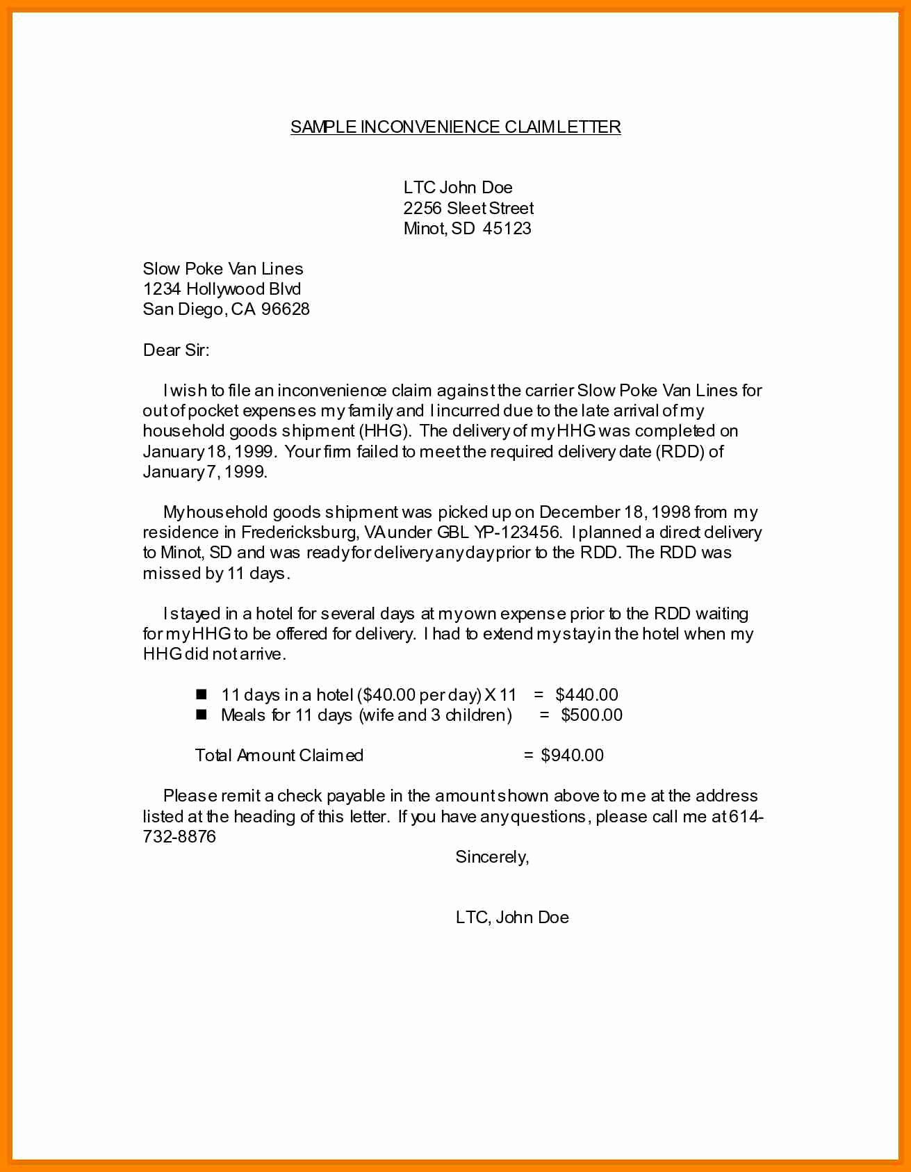 Letter Of Recommendation for Ltc Fresh 7 Example Of Claim Letters